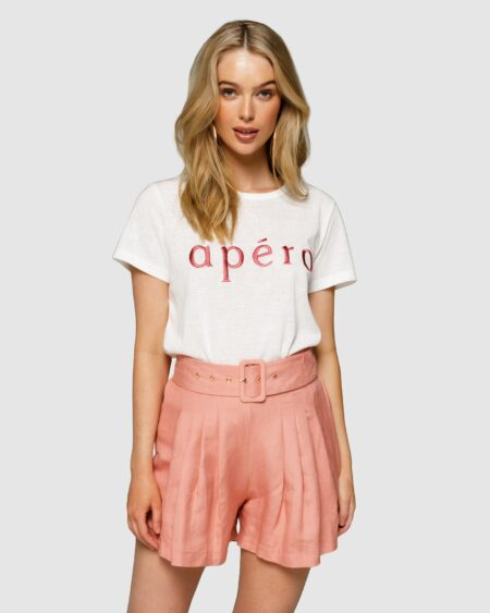 Apéro Embroidered Femme Tee - White/Burnt Rose