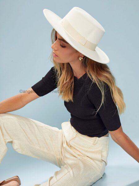 Antonella Boater Felt Hat