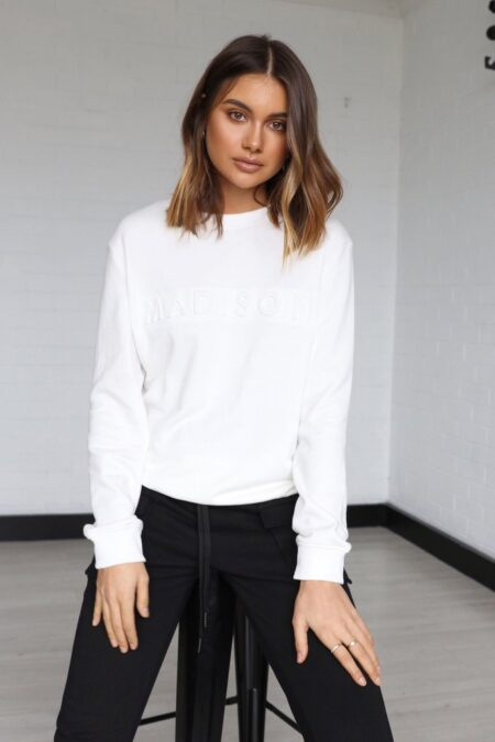 Madison Embossed Sweater white