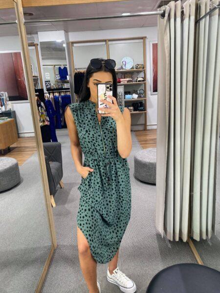 Lana Spot Green Dress