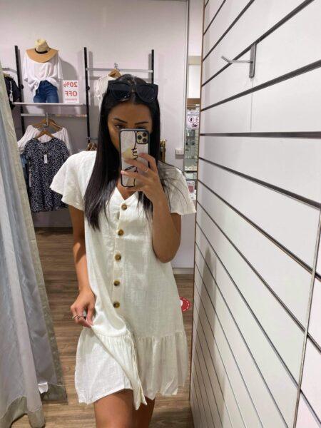 Valley Button Through Dress White