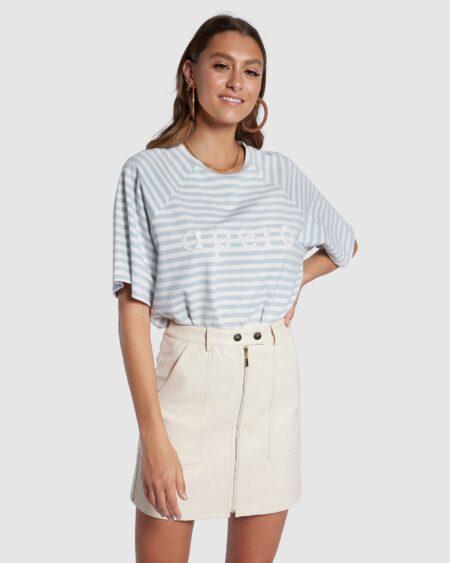 Boi Stripe Oversized Tee - Sky Blue / White