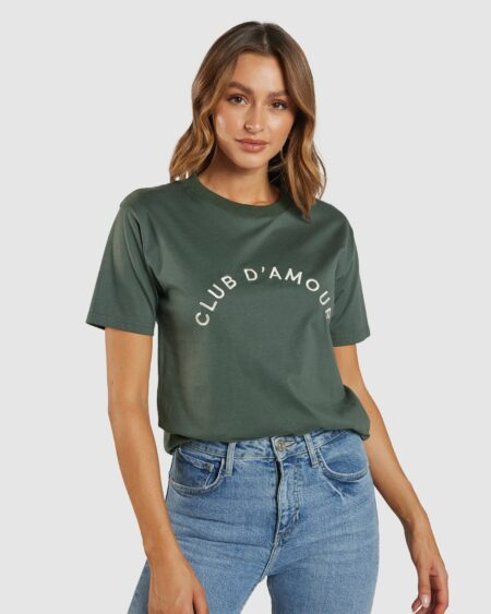 Club D'Amour Embroidered Tee - Emerald / Cream