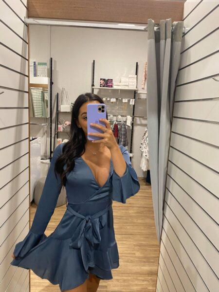 Heather Drop Long Sleeve Dress Blue