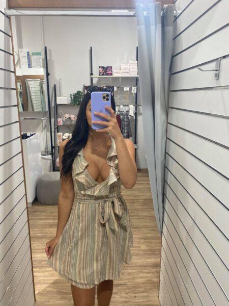 Bree Stripe Dress Rust