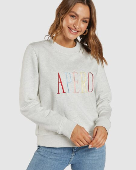 Riviera Embroidered Jumper - Grey Marle / Multi