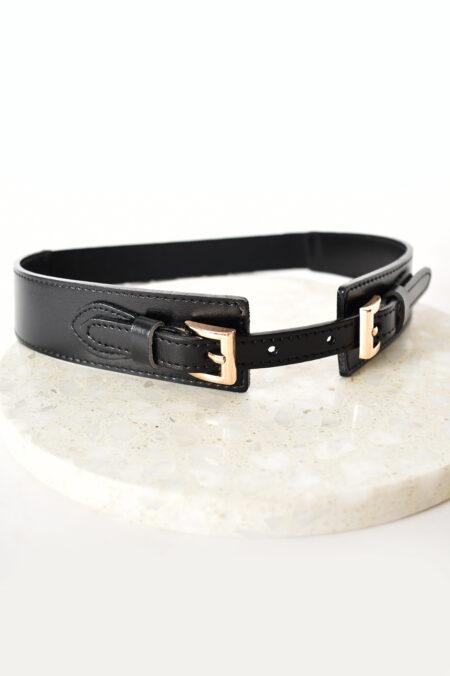 Western Buckle Belt Black Gold