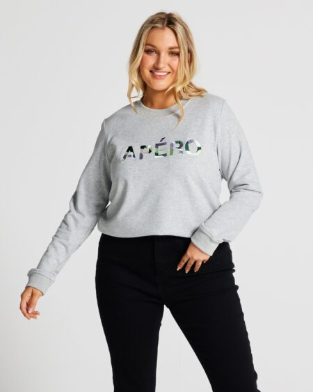 Electric Embroidered Jumper - Grey Marle / Multi