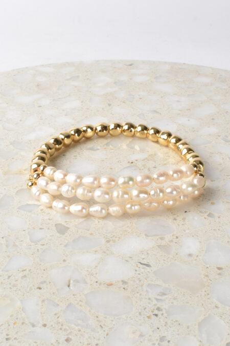 Pearl Front Bead Back Bracelet