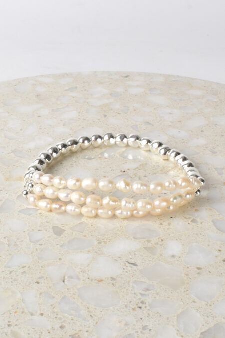 Pearl Front Bead Back Bracelet Silver Cream