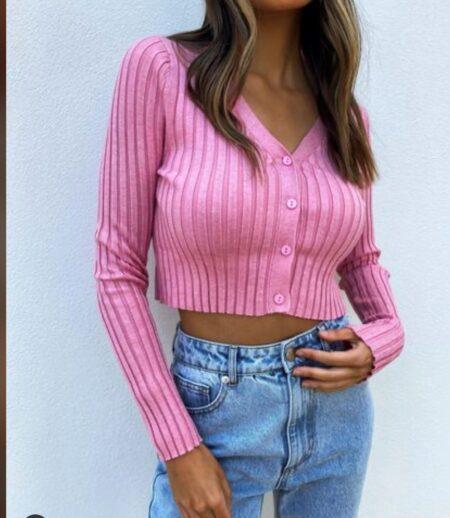 Tyra Ribbed Cardigan Pink