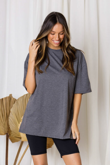 Oliver Oversized Cotton Tee Charcoal Pre Order
